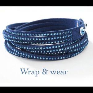 Touchstone Crystal dark blue ultra suede bracelet